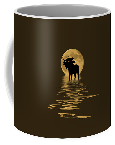 Colorado Coffee Mug featuring the mixed media Moose In The Moonlight by Shane Bechler