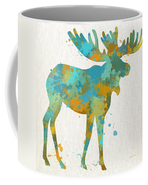 Moose Coffee Mug featuring the mixed media Moose Watercolor Art by Christina Rollo