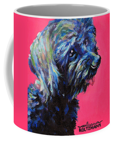 Dog Coffee Mug featuring the painting Moppet by Arleana Holtzmann