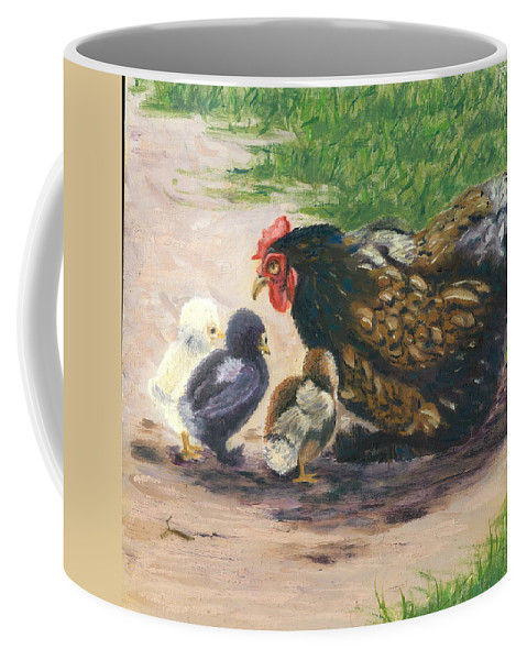 Chickens Coffee Mug featuring the painting More Of Life by Paula Emery