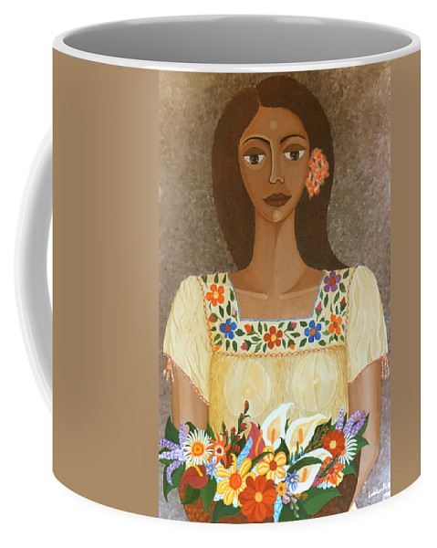 Oil Coffee Mug featuring the painting More Than Flowers She Sold Illusions by Madalena Lobao-Tello