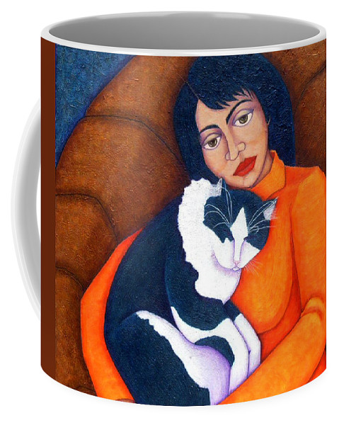Woman Coffee Mug featuring the painting Morgana With Woman by Madalena Lobao-Tello