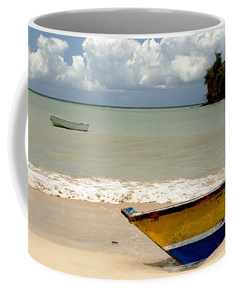 Boat Coffee Mug featuring the photograph Morne Rouge Boats by Jean Macaluso