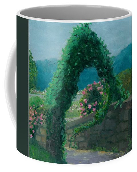 Landscape Coffee Mug featuring the painting Morning At Harkness Park by Paula Emery