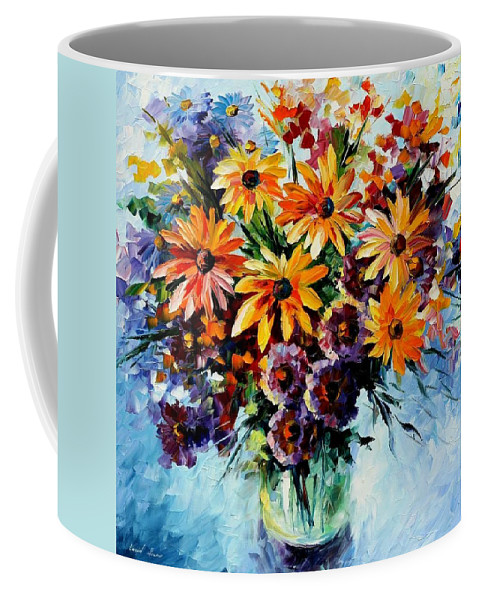 Afremov Coffee Mug featuring the painting Morning Bouquet by Leonid Afremov