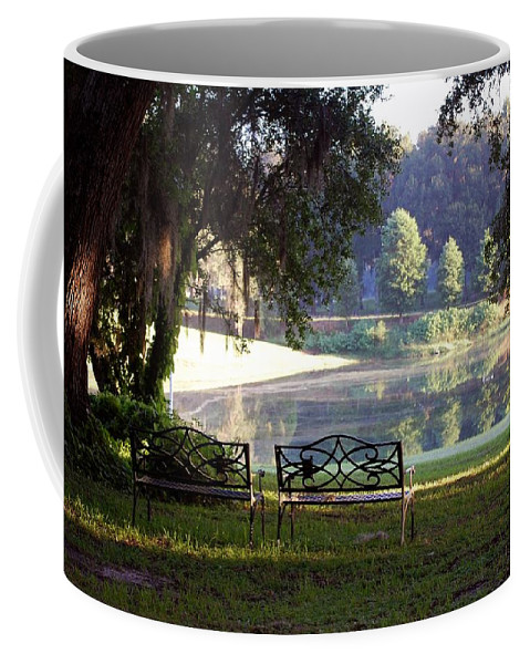 Bench's Coffee Mug featuring the photograph Morning By The Pond by Robert Meanor