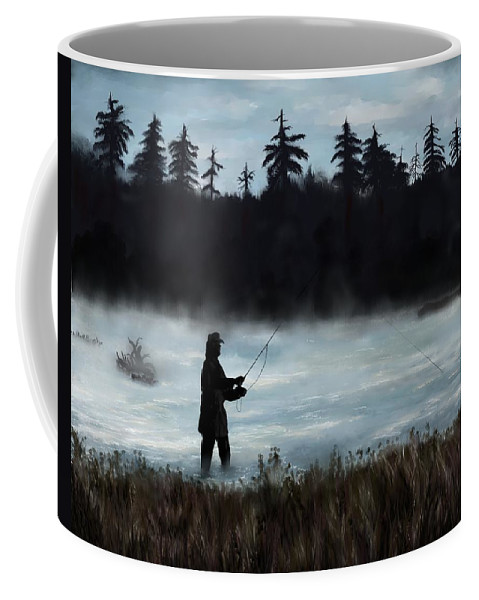 Painting Coffee Mug featuring the painting Morning Catch by Susan Kinney
