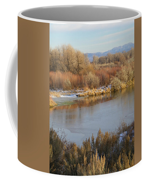 River Coffee Mug featuring the photograph Morning Chill by Gale Cochran-Smith