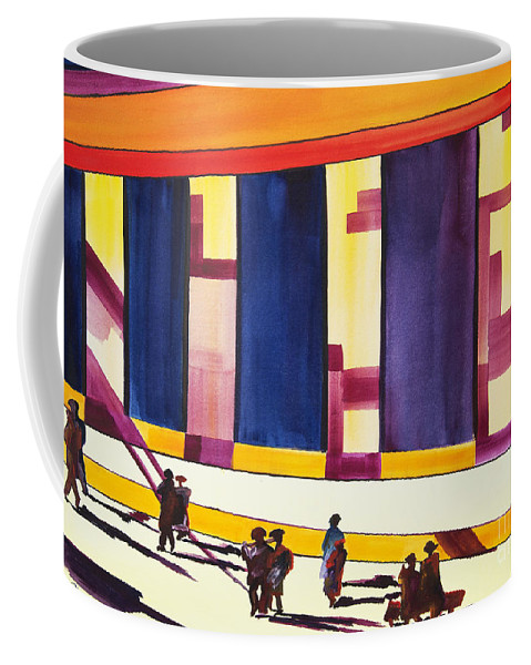 Figures Coffee Mug featuring the painting Morning Commute by JoAnn DePolo