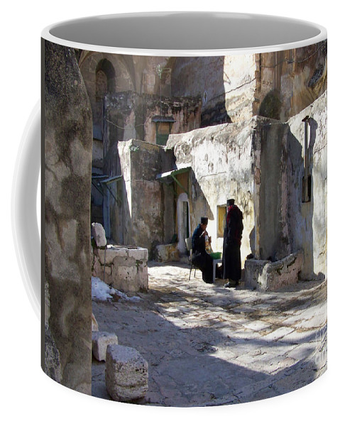 Jerusalem Coffee Mug featuring the photograph Morning Conversation by Kathy McClure
