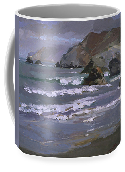 Seascape Coffee Mug featuring the painting Morning Fog Shark Harbor - Catalina Island by Betty Jean Billups