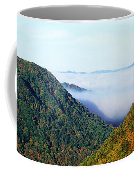 Photography Coffee Mug featuring the photograph Morning Fog At Sunrise In Autumn by Panoramic Images