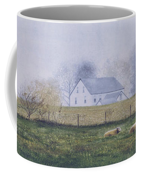 Watercolor Coffee Mug featuring the painting Morning Fog by Denny Bond