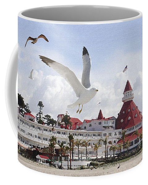 Beach Coffee Mug featuring the photograph Morning Gulls On Coronado by Margie Wildblood
