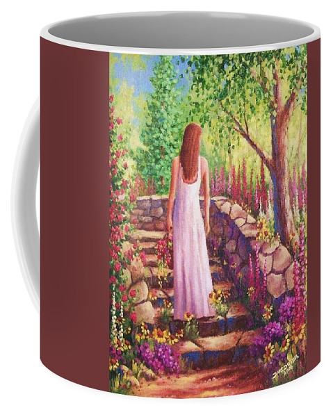 Woman Coffee Mug featuring the painting Morning In Her Garden by David G Paul