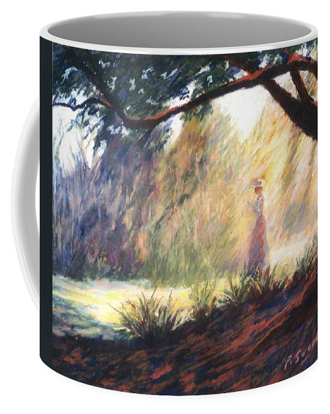 Woman Meditating Tree Park Outdoor Coffee Mug featuring the pastel Morning Meditation by Pat Snook