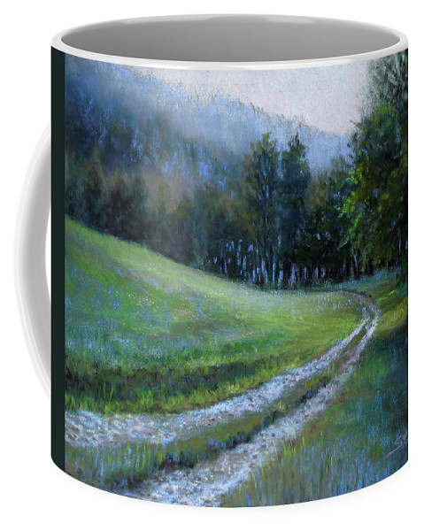 Landscape Coffee Mug featuring the pastel Morning On Blue Mountain Road by Susan Jenkins