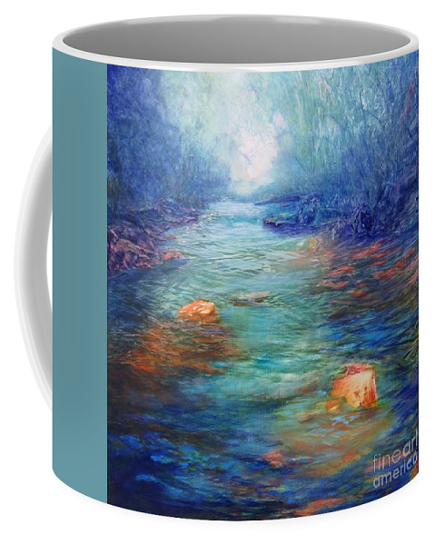 Waterways Coffee Mug featuring the painting Morning On The Stream #3 by Vivian Haberfeld