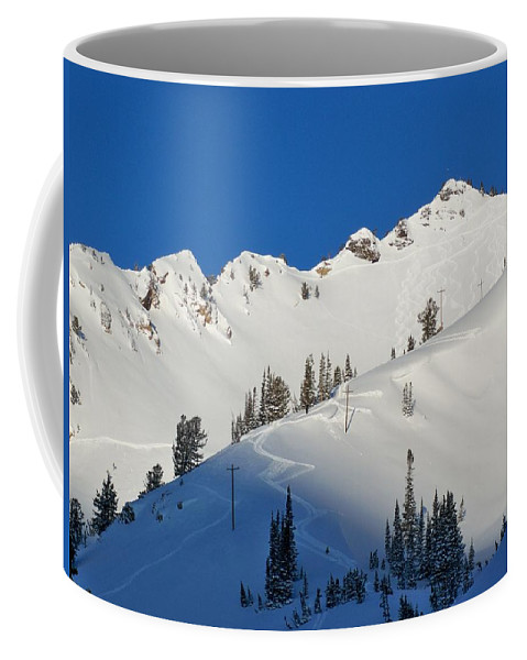 Ski Coffee Mug featuring the photograph Morning Pow Wow by Michael Cuozzo