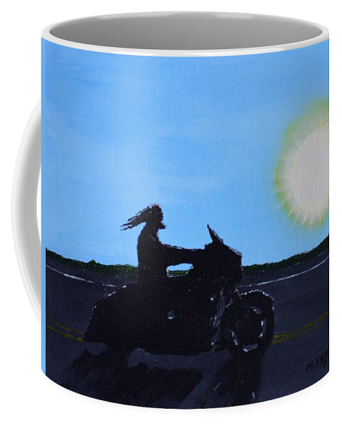 Motorcycle Coffee Mug featuring the painting Morning Ride by Mike Parsons