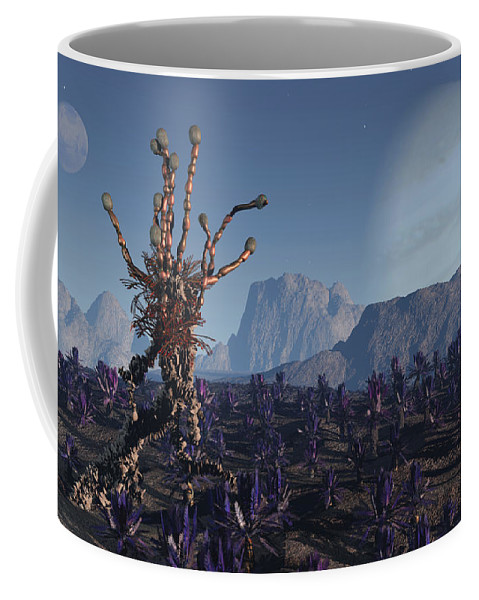 Alien Coffee Mug featuring the digital art Morning Stroll by Richard Rizzo