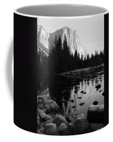 El Capitan Coffee Mug featuring the photograph Morning Sunlight On El Cap - Black And White by Heidi Smith