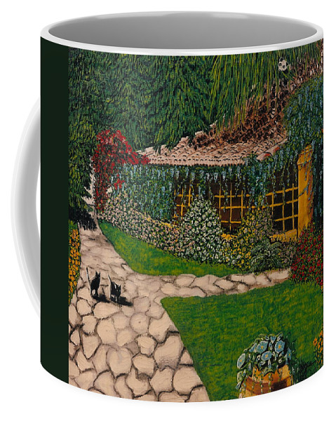 European Coffee Mug featuring the painting Morning Walk by V Boge