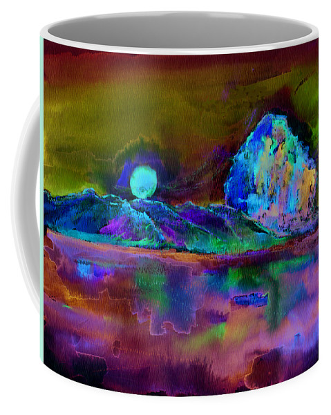 Landscape Coffee Mug featuring the painting Morro Rock by Shelley Myers