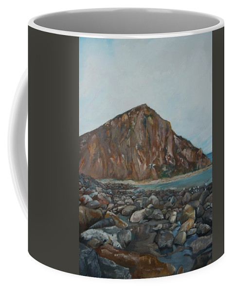 Morro Bay Coffee Mug featuring the painting Morro Rock by Travis Day