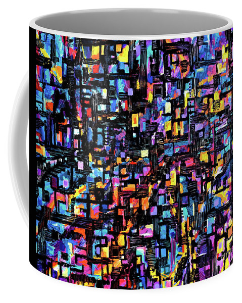 Original Painting On Canvas .abstract Expressionista Art With A Strong Gemetric Aspect .full Of Intrigue .luscious Colors Too.plenty Of Texture Makes The Vibrant Colors Pop And The Black Paint Fretwork Overlay Accents Everything . Coffee Mug featuring the painting Mosaic by Expressionistart studio Priscilla Batzell