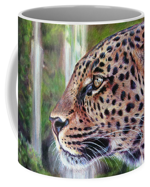 Leopard Coffee Mug featuring the painting Mosaic by Lachri