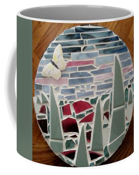 Mosaic Coffee Mug featuring the glass art Mosaic Sailboats by Jamie Frier