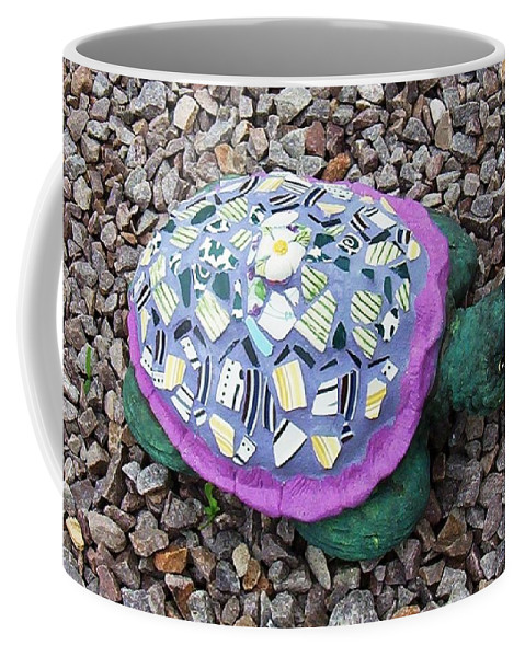 Mosaic Coffee Mug featuring the ceramic art Mosaic Turtle by Jamie Frier