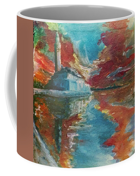 Coffee Mug featuring the painting Mosquee Hassan II - Casablanca by Issam BOUMNAIA