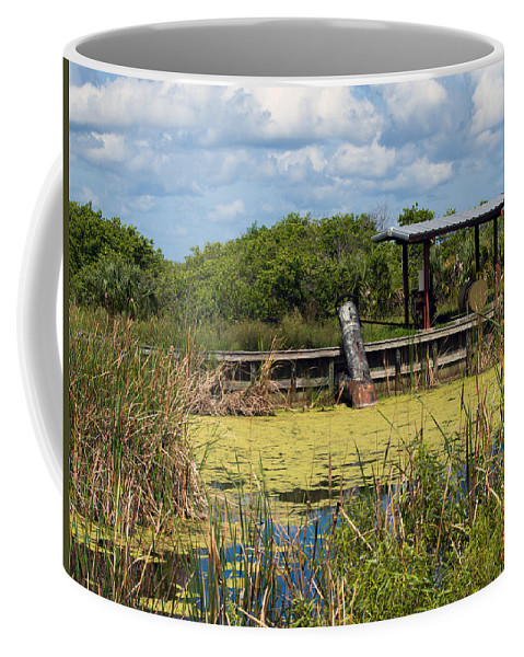 Florida; Mosquito; Coast; Flood; Flooding; Water; Salt; Marsh; Impoundment; Impound; Contain; Pond; Coffee Mug featuring the photograph Mosquito Impoundement In Florida by Allan Hughes