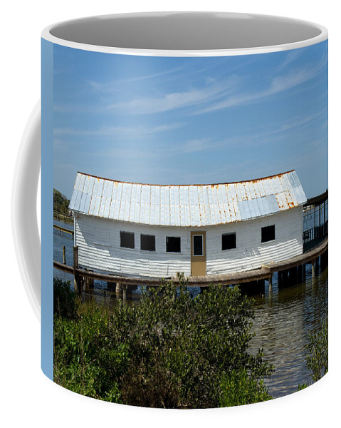 Florida; Oak; Hill; Mosquito; Lagoon; Old; Abandoned; Fish; House; Processing; Dock; Pier; Wharf; Bo Coffee Mug featuring the photograph Mosquito Lagoon Florida by Allan Hughes