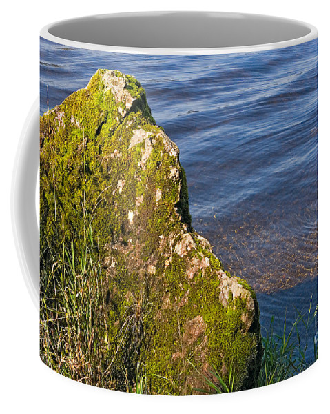 Landscape Coffee Mug featuring the photograph Moss Covered Rock And Ripples On The Water by Louise Heusinkveld