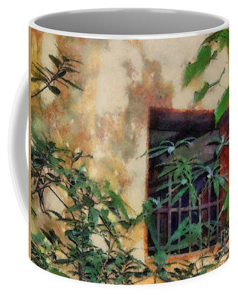 Moss Coffee Mug featuring the painting Mossy Wall by Paulette B Wright