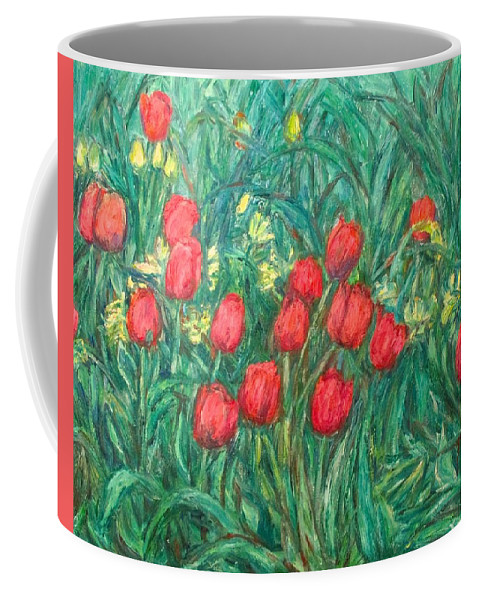 Kendall Kessler Coffee Mug featuring the painting Mostly Tulips by Kendall Kessler