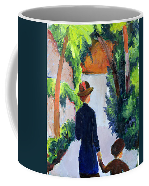 Mother Coffee Mug featuring the painting Mother And Child In The Park by August Macke