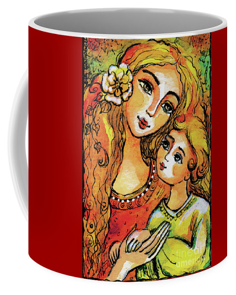 Mother And Child Coffee Mug featuring the painting Mother And Child In Yellow by Eva Campbell