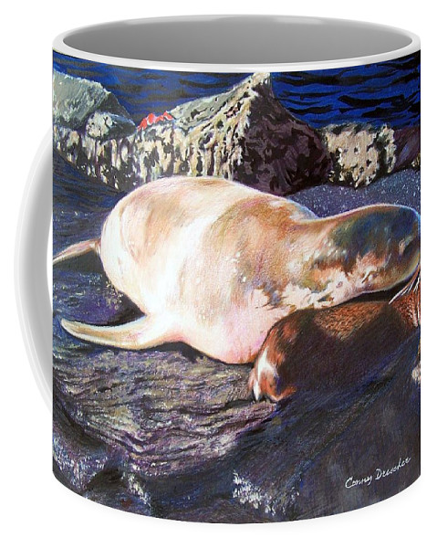 Sea Lion Coffee Mug featuring the mixed media Mother And Child Sea Lion by Constance Drescher