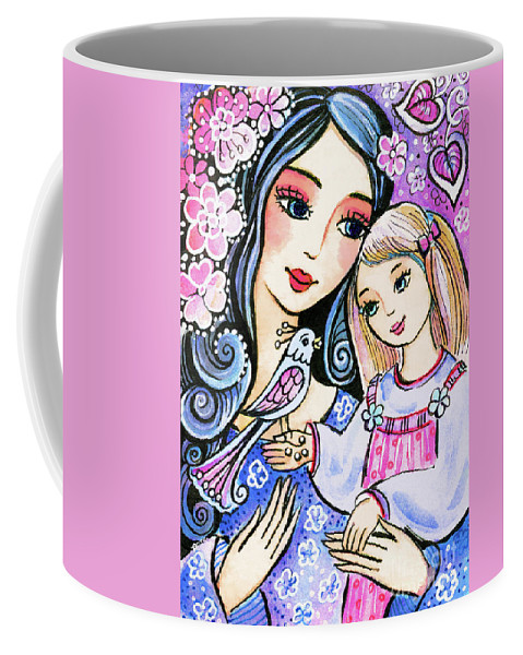 Mother And Child Coffee Mug featuring the painting Mother And Daughter In Blue by Eva Campbell