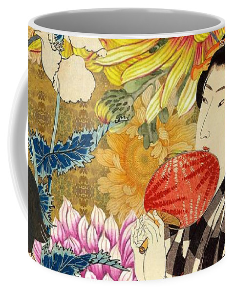 Japanese Coffee Mug featuring the digital art Mother and Daughter by Laura Botsford