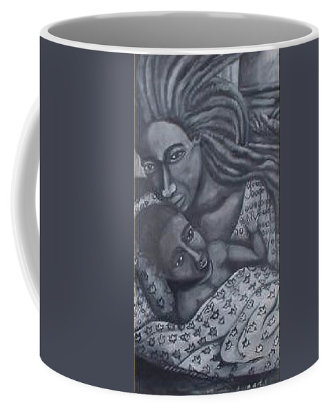 Mother Taking Care Of Child Coffee Mug featuring the painting Mother And Son by Andrew Johnson