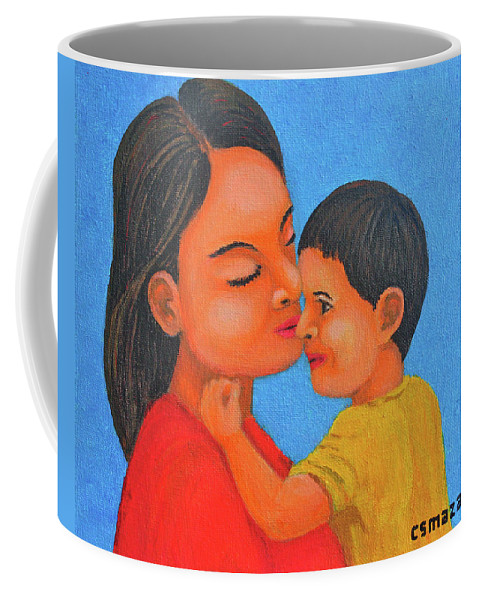 Mother Coffee Mug featuring the painting Mother And Son by Cyril Maza