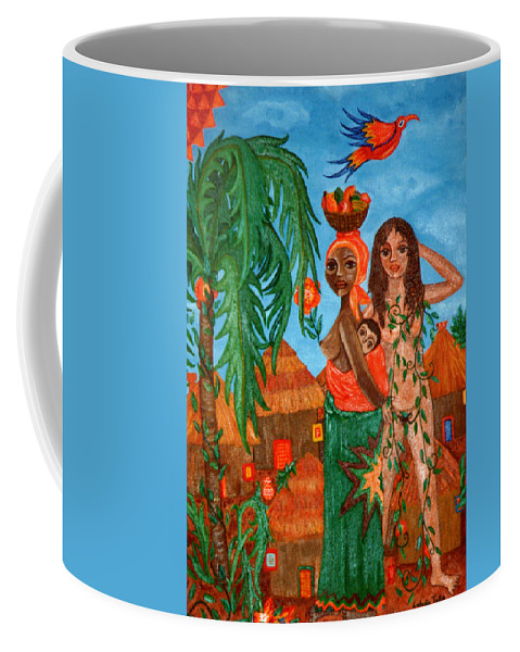 Mother Coffee Mug featuring the painting Mother Black Mother White by Madalena Lobao-Tello
