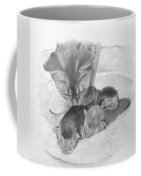 Drawing Coffee Mug featuring the drawing Mother Cat Washing Kittens by Phyllis Tarlow