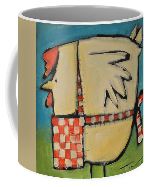 Hen Coffee Mug featuring the painting Mother Hen by Tim Nyberg