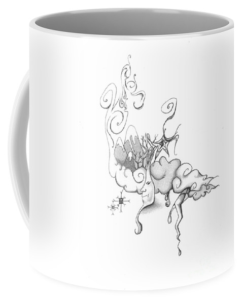 Moon Coffee Mug featuring the drawing Mother Nature Father Moon by Chanel Fernandez